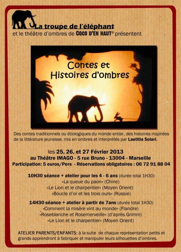 La troupe de l'éléphant - contes mis en ombres par Laetitia Solari