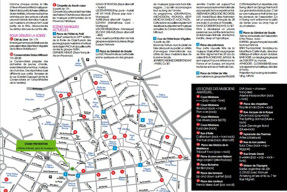 Fête de la musique Aix en Provence - Flyer / Plan