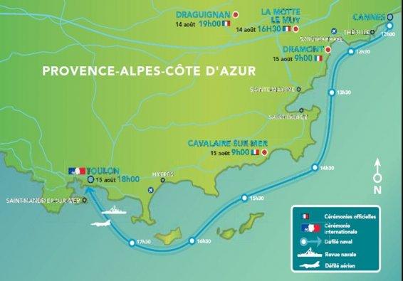 © PREMARMED Parcours du défilé naval entre Cannes et Toulon le 15 août