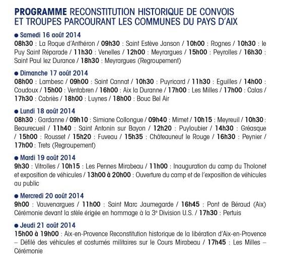 Programme du convoi de la libération en Pays d'Aix